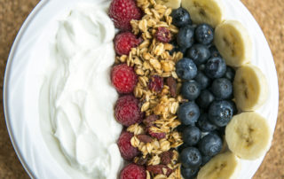 Fruit bowl and with yogurt