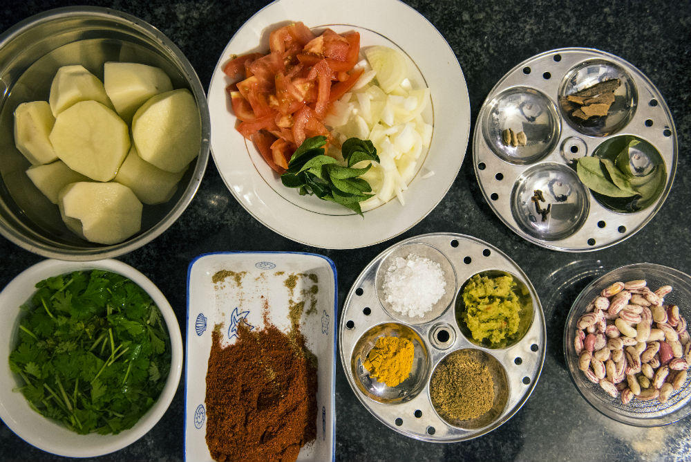 Prep time. A variation of spices, legumes and veggies that ultimately make curry.